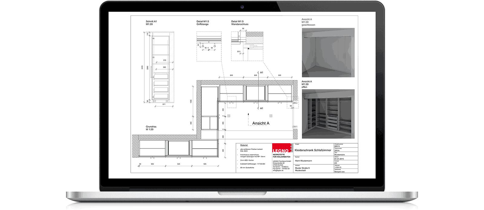 Beispiel einer Konstruktionszeichnung der Firma LEGNO
